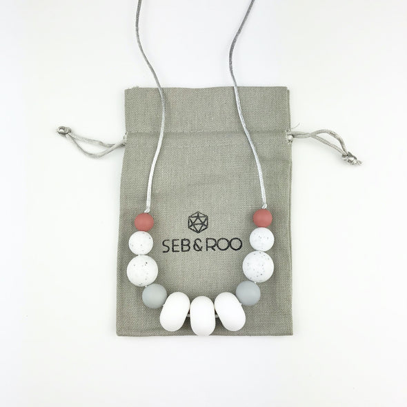 Modern Teething Necklace in White, Grey, Gritty and Maroon with Pouch