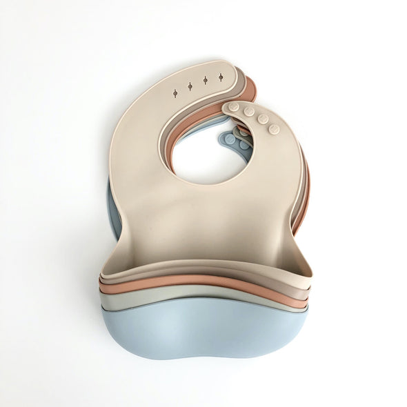 Range of Muted Modern Silicone Bibs