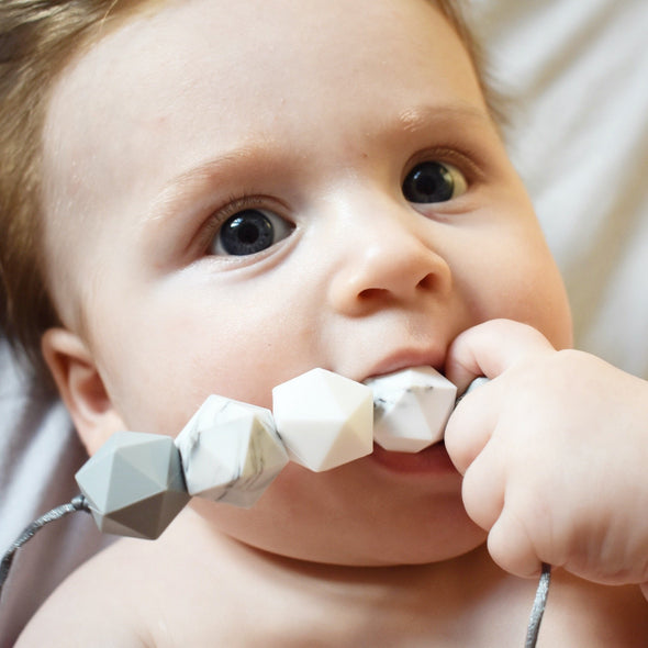 Baby Teething on Grey Chew Necklace