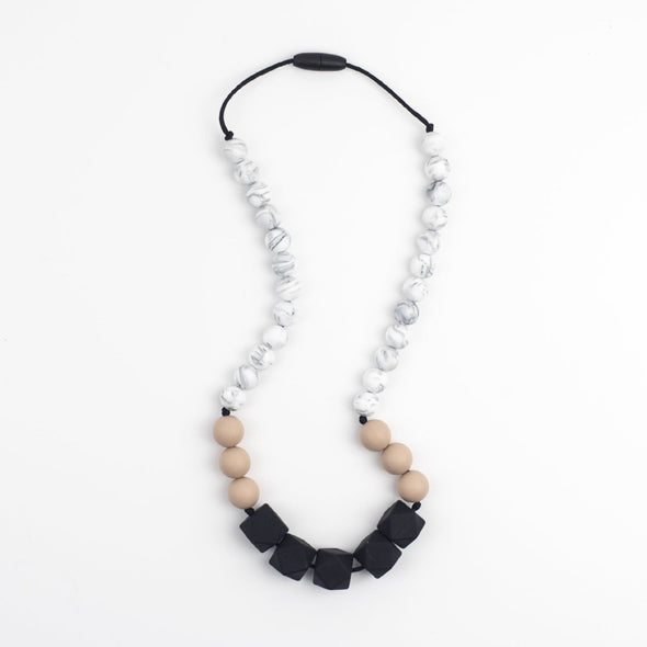 Unusual Teething Necklace with Chunky Beads in Black, Grey Marble and Oatmeal