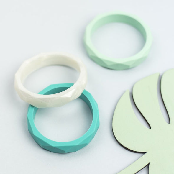 Teething Bangles in Turquoise, Pearl White and Mint Green