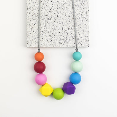 Bright Colourful Rainbow Teething Necklace