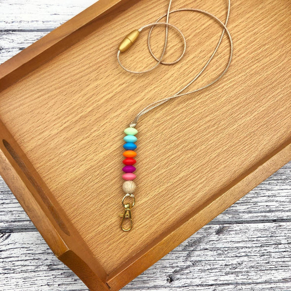 Beaded Lanyard ID Holder in Rainbow Colours and Gold Clip