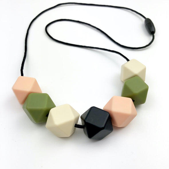 Chunky Teether Necklace With Peach, Black, Cream and Olive Green Beads