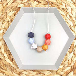 Autumn Rainbow Geometric Beaded Teething Necklace