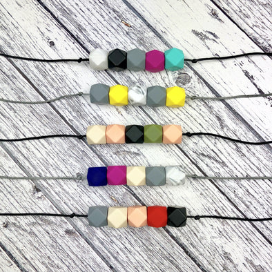 Five Bead Teething Necklaces in Modern Colour Combinations