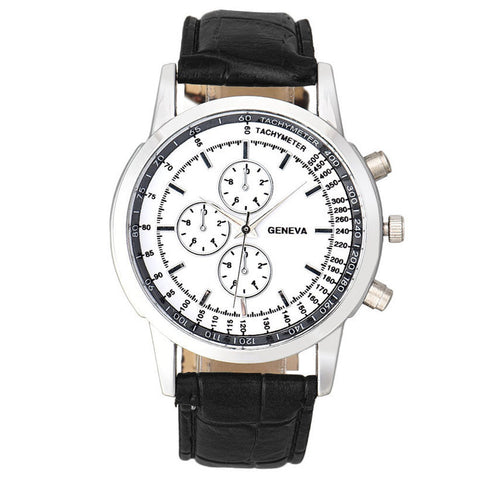 Geneva watch with a black PU strap and white face