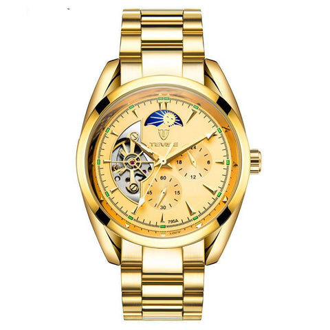Tevise mechanical golden watch with a golden face and moon phase complication at the top of the dial