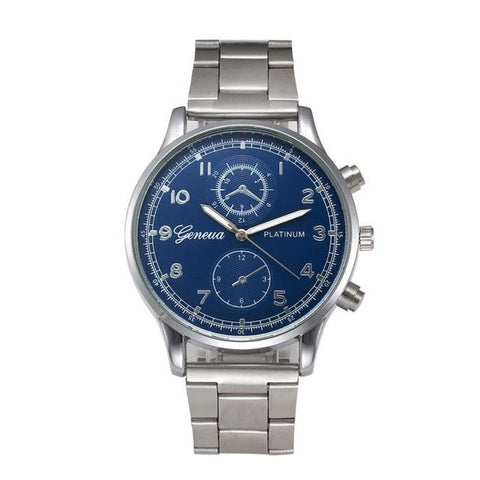 Geneva quartz watch with a blue face and a stainless steel bracelet