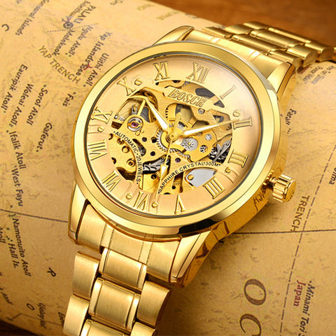 BOSCK Automatic Mechanical Watches Men Brand Luxury Gold Case Stainless Steel Skeleton Tourbillon Watch Hodinky Reloj Hombre