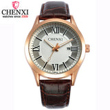 CHENXI Brand Men Black and Brown Leather Buckle Band Quartz Wristwatch Male Date Display Clocks Hollow out Dial Design Watch