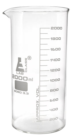 Borosilicate Glass Beaker, 2000 ml, 100  ml Graduation, Tall Form, Autoclavable