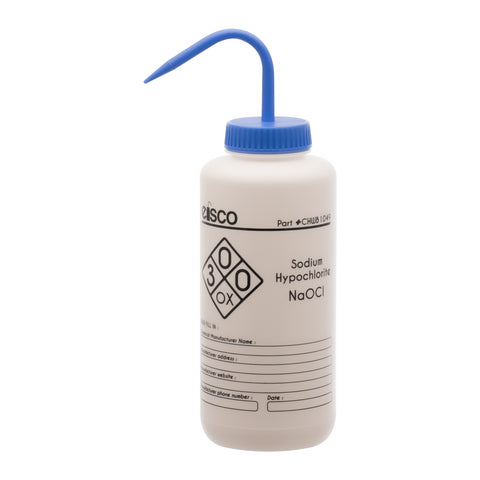 Performance Plastic Wash Bottle, Sodium Hypochlorite (Bleach), 1000 ml - Labeled (1 Color)