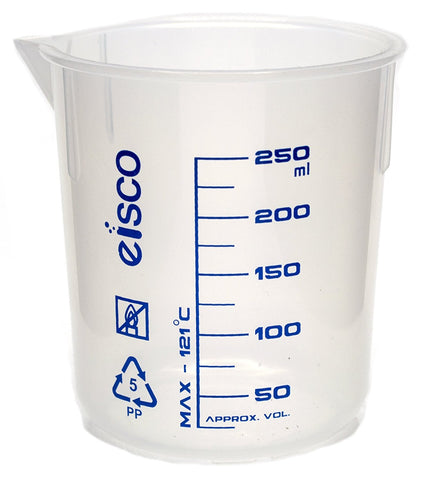 Printed Polypropylene Beaker, 250ml, 25ml Graduation, Autoclavable