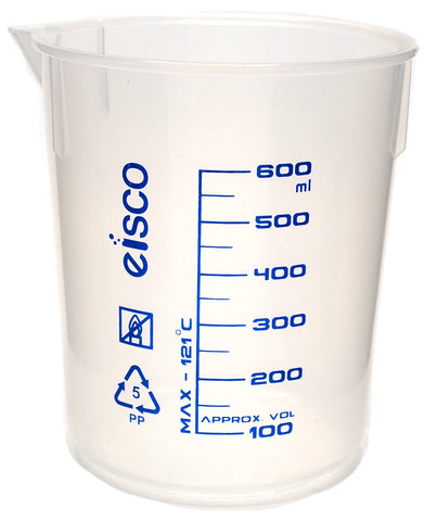 Printed Polypropylene Beaker, 600ml, 50ml Graduation, Autoclavable