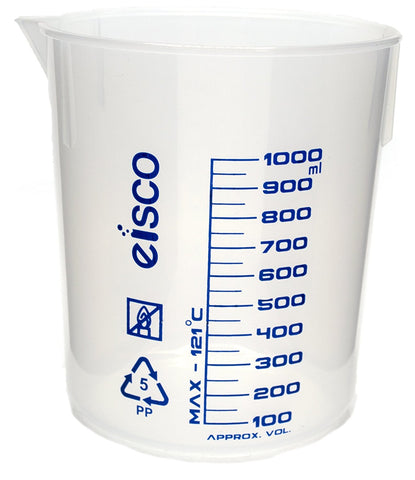 Printed Polypropylene Beaker, 1000 ml, 50 ml Graduation, Autoclavable