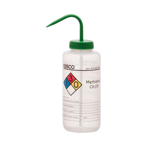 Performance Plastic Wash Bottle, Methanol, 1000 ml - Labeled (4 Color)