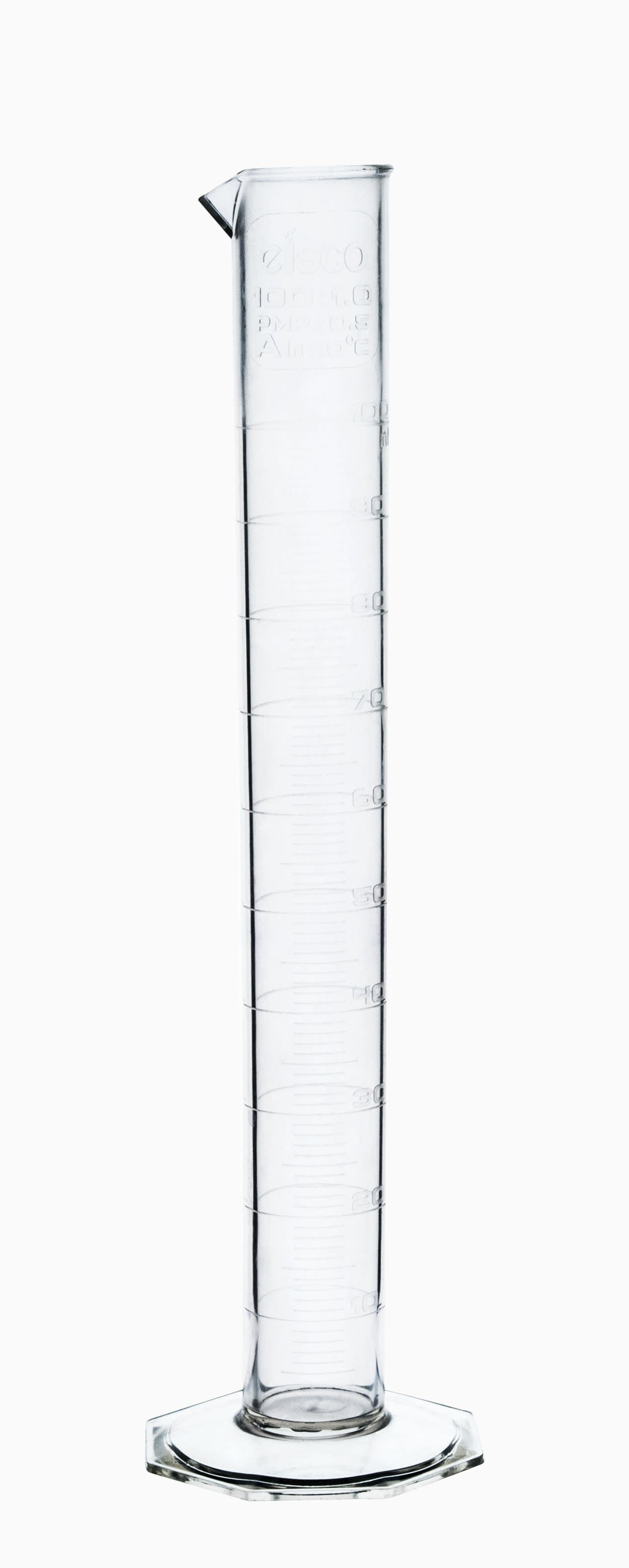 TPX Graduated Cylinder, 100ml, 1ml Graduation, Hexagonal Base, Class B, Autoclavable