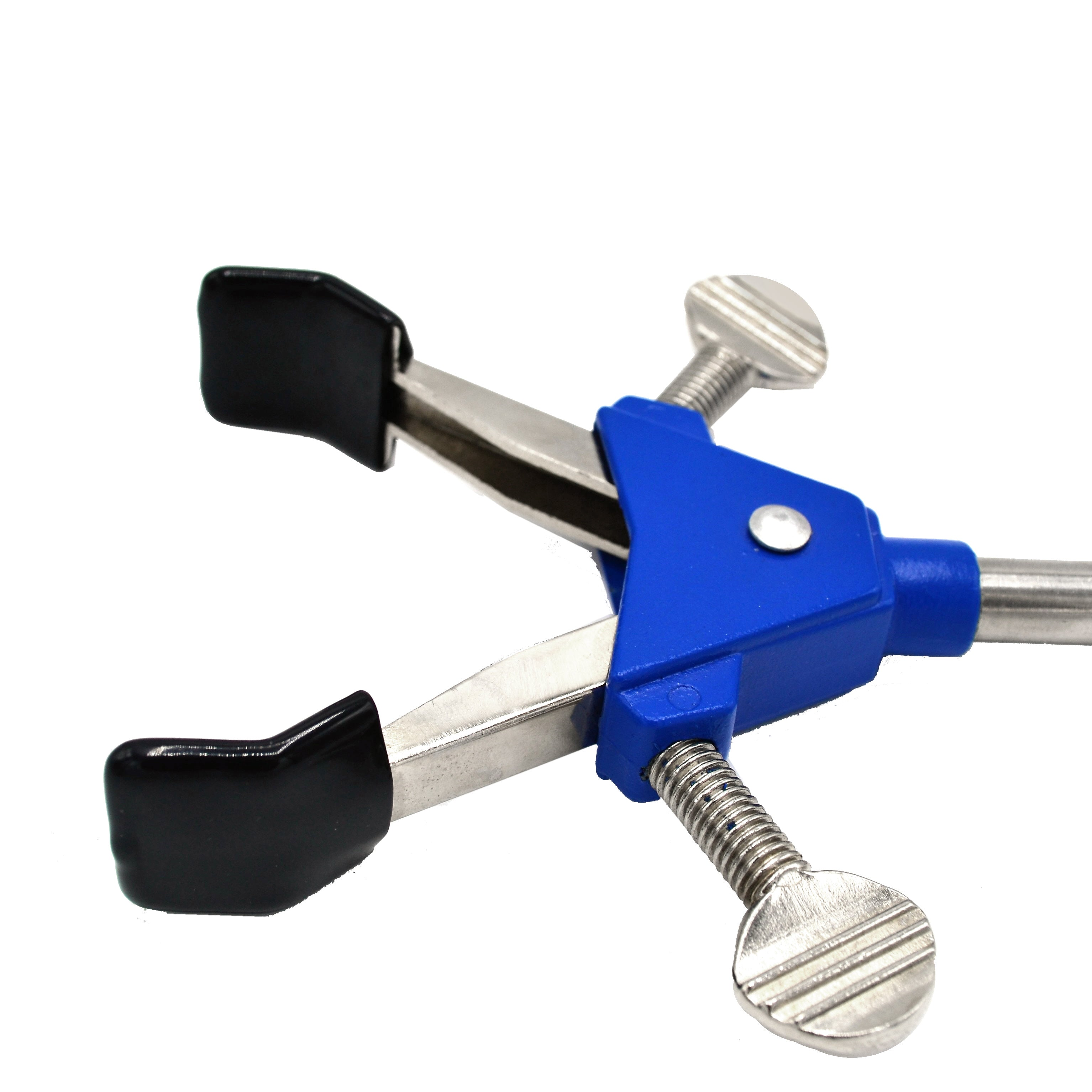 "2 Prong, Vinyl Coated, Dual Adjustment Lab Clamp on Rod,  2.75"" (7 cm) Maximum Clamp Opening"