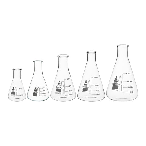 Borosilicate Glass Safety Pack Erlenmeyer Flask Set (50ml, 150ml, 250ml, 500ml, 1000ml), Graduated, Autoclavable
