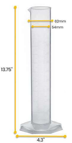 TPX Graduated Cylinder, 500ml, 5ml Graduation, Hexagonal Base, Class A,  Autoclavable
