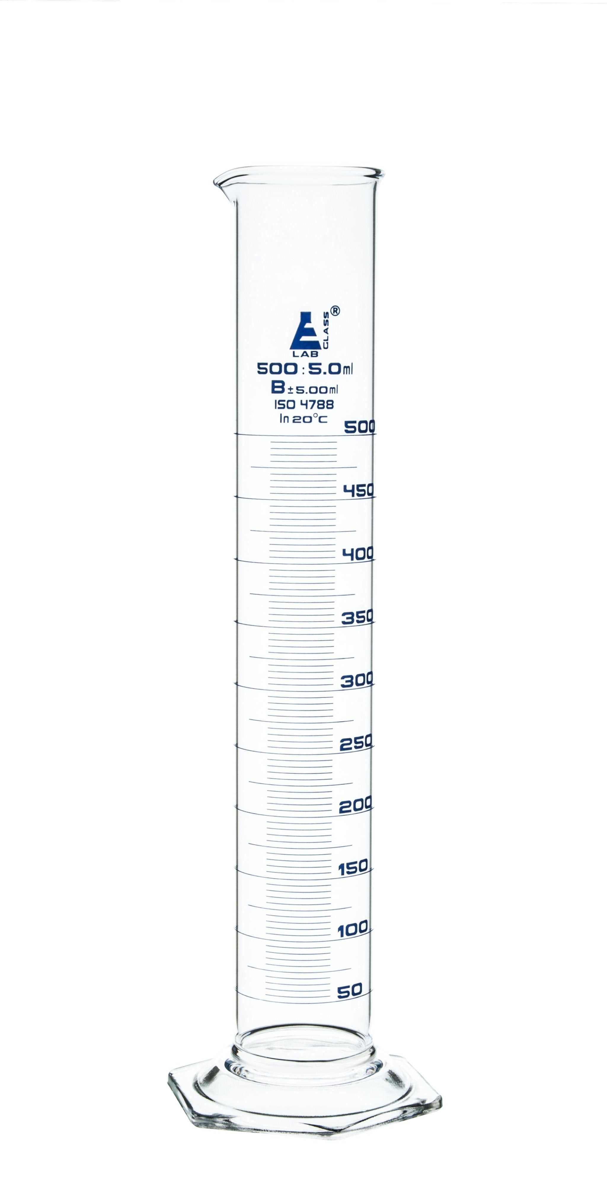 Borosilicate Glass Graduated Cylinder, 500 ml, 5.0 ml Graduation, Class B, Autoclavable