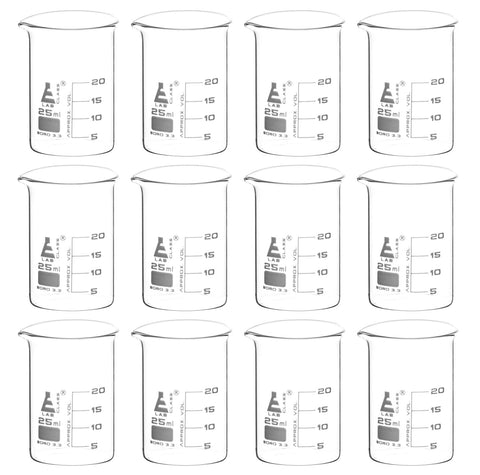 Borosilicate Glass Beaker, 25 ml, 5 ml Graduation, Low Form, Autoclavable