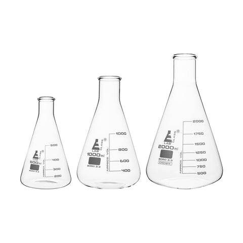 Borosilicate Glass Safety Pack Erlenmeyer Flask Set (500ml, 1000ml, 2000ml), Graduated, Autoclavable