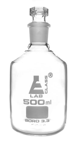Clear Borosilicate Glass Reagent Bottle with Hollow Glass Stopper, 500 ml, Narrow Mouth, Autoclavable