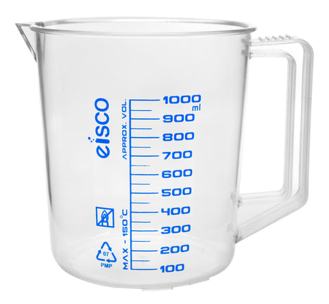TPX Measuring Jug with Spout and Handle, Short Form, 1000 ml, 50 ml Graduation, Autoclavable