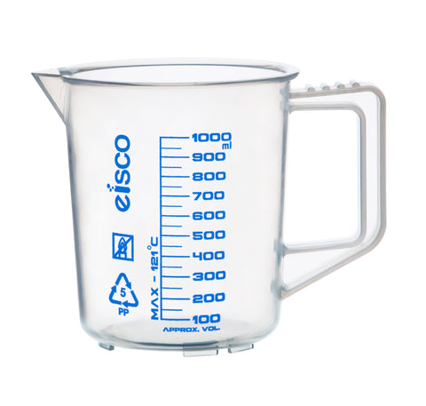 Polypropylene Measuring Jug with Handle and Spout, Short Form, 1000 ml, 50 ml Graduation, Autoclavable