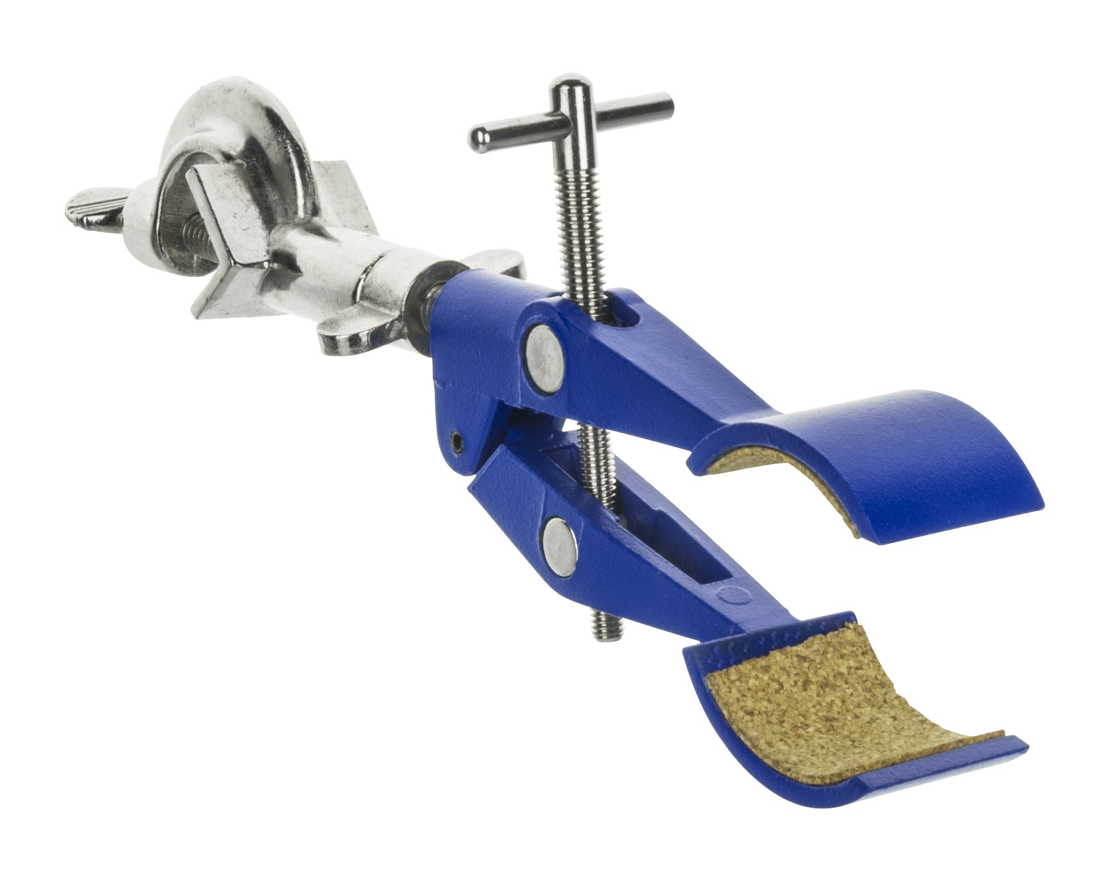"2 Prong, Cork Lined, Lab Clamp with Boss Head,  4.625"" (11.7 cm) Maximum Clamp Opening"