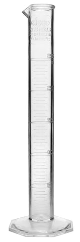 TPX Graduated Cylinder, 25ml, 0.5ml Graduation, Hexagonal Base, Class A, Autoclavable