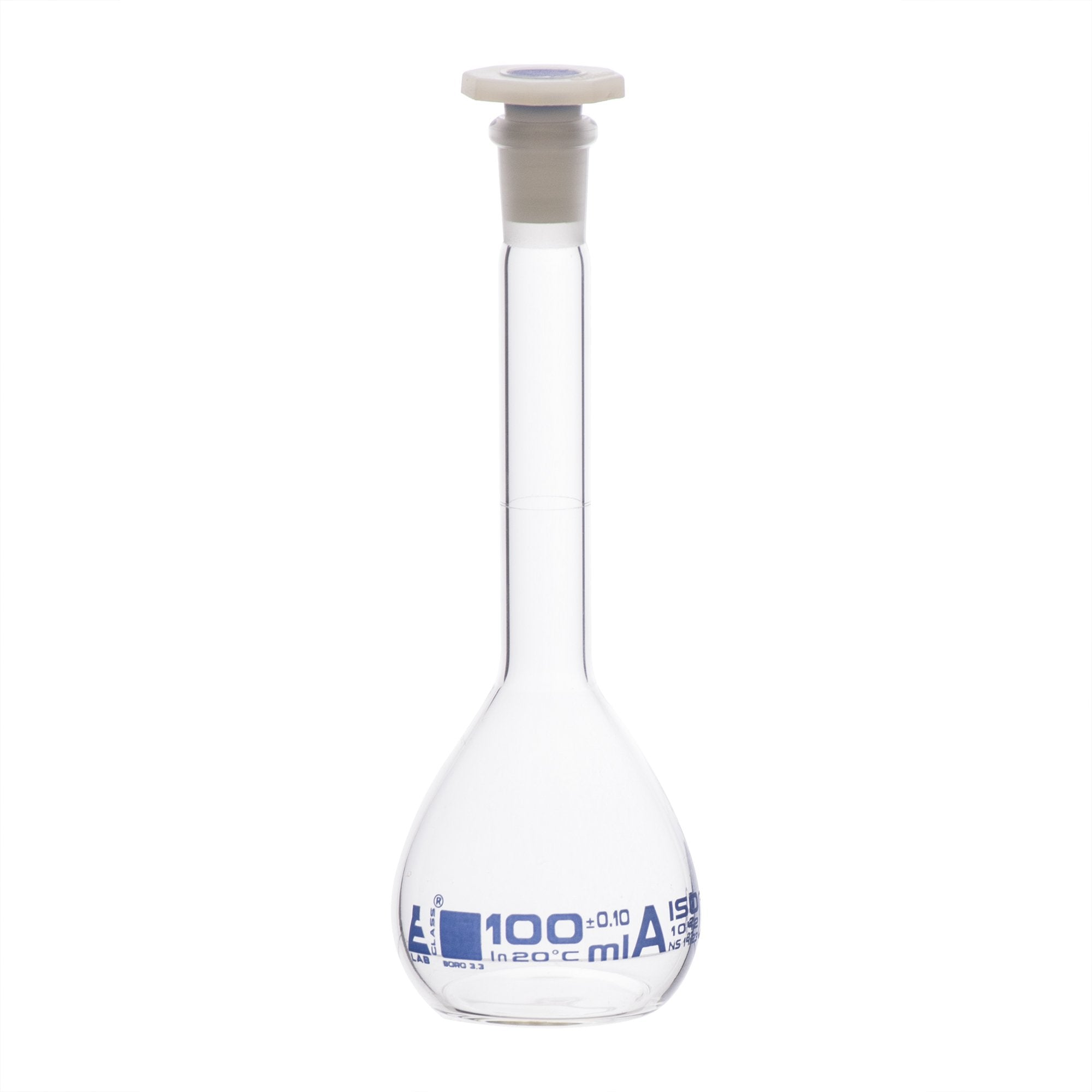 Borosilicate Glass Volumetric Flask with Polypropylene Stopper, 100 ml, Class A with Individual Work Certificate, Pack of 2,  Autoclavable