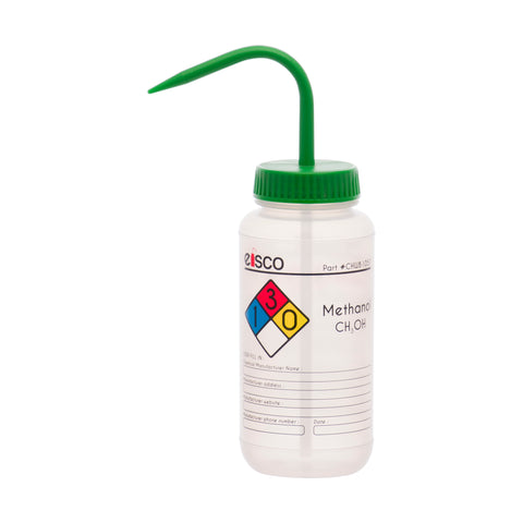 Performance Plastic Wash Bottle, Methanol, 500 ml - Labeled (4 Color)