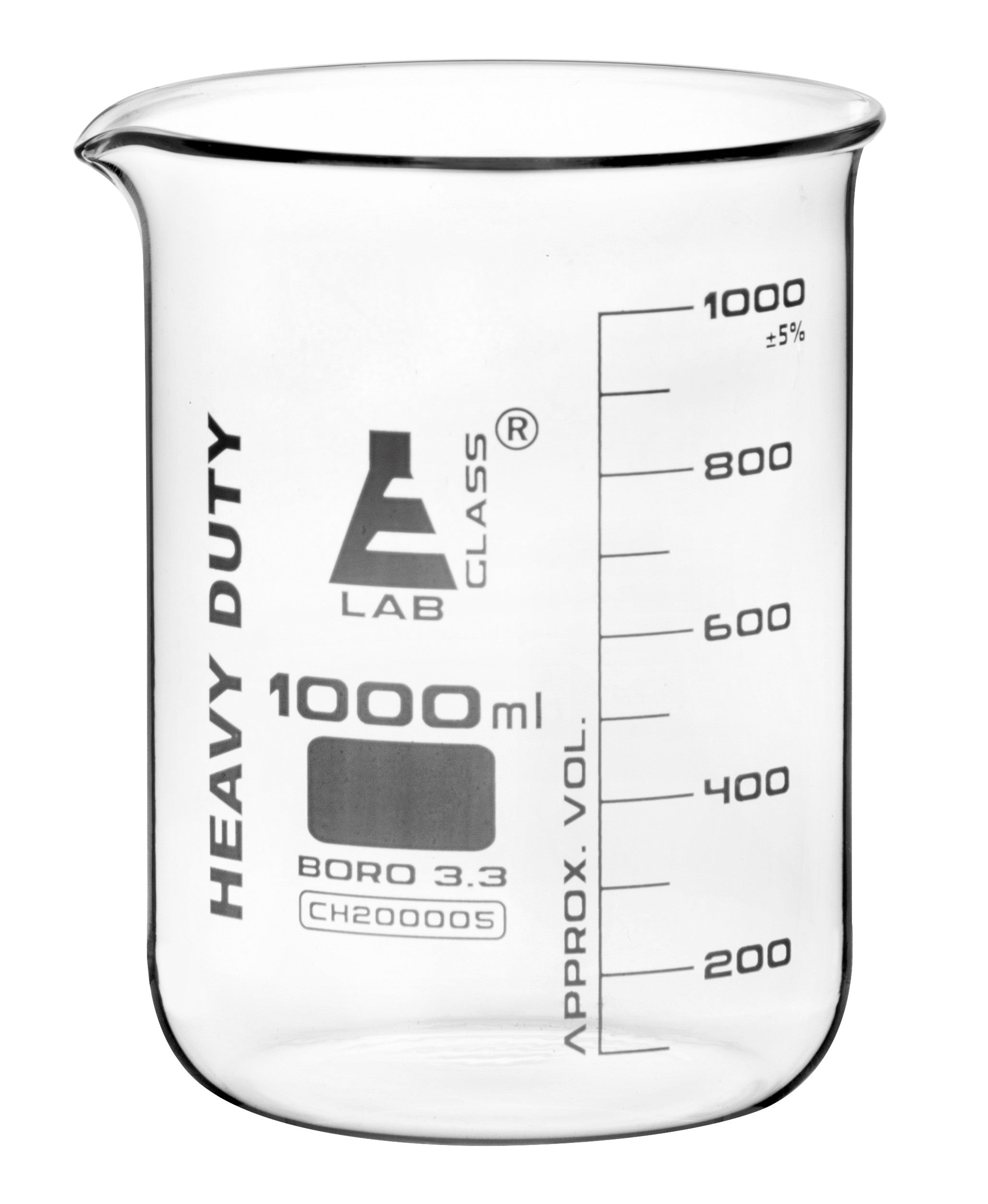 Heavy Duty Borosilicate Glass Beaker, 1000 ml, 100 ml Graduations, Short Form, Autoclavable