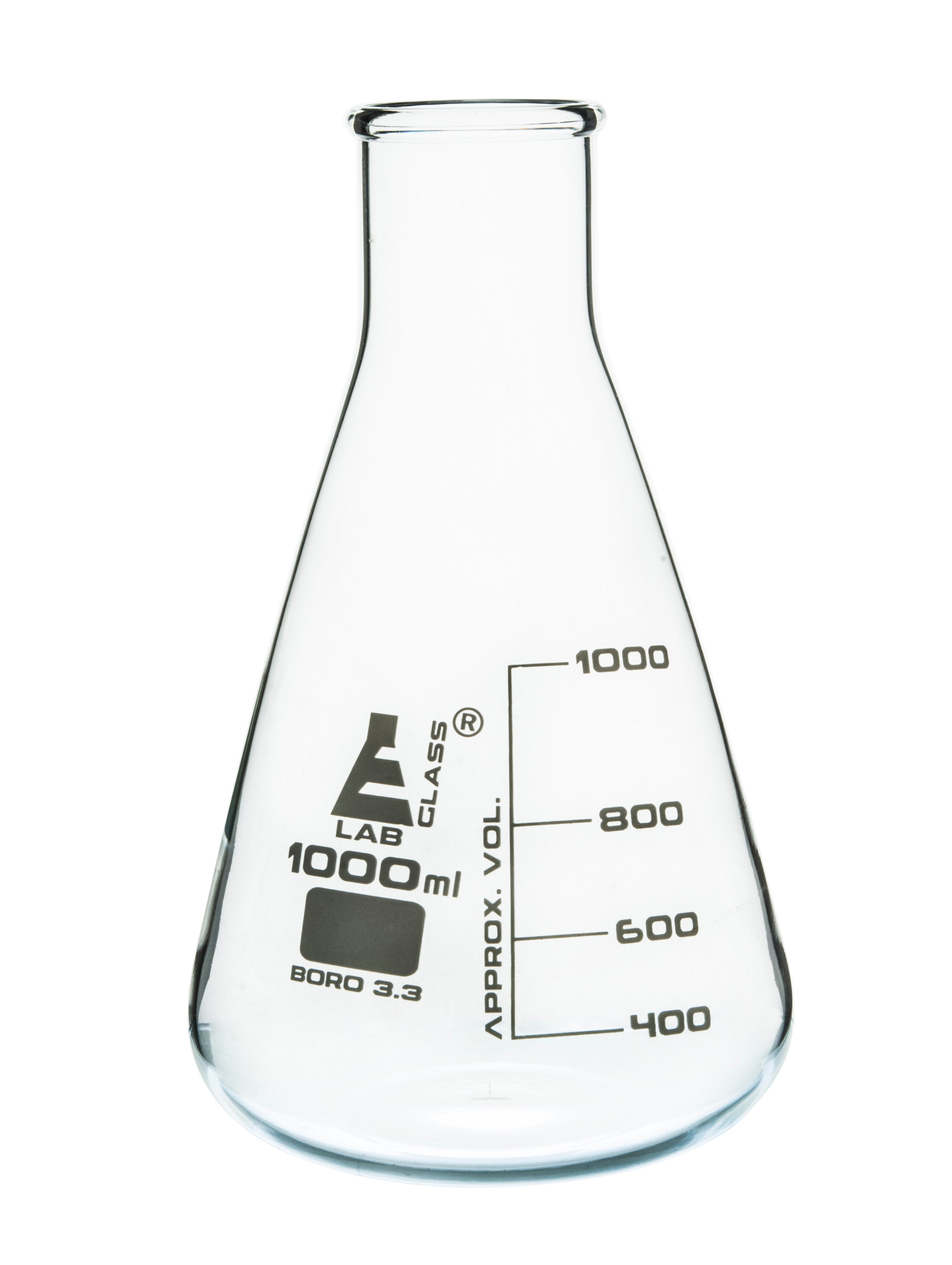 Borosilicate Glass Wide Neck Erlenmeyer Flask, 1000 ml, Pack of 6, Autoclavable