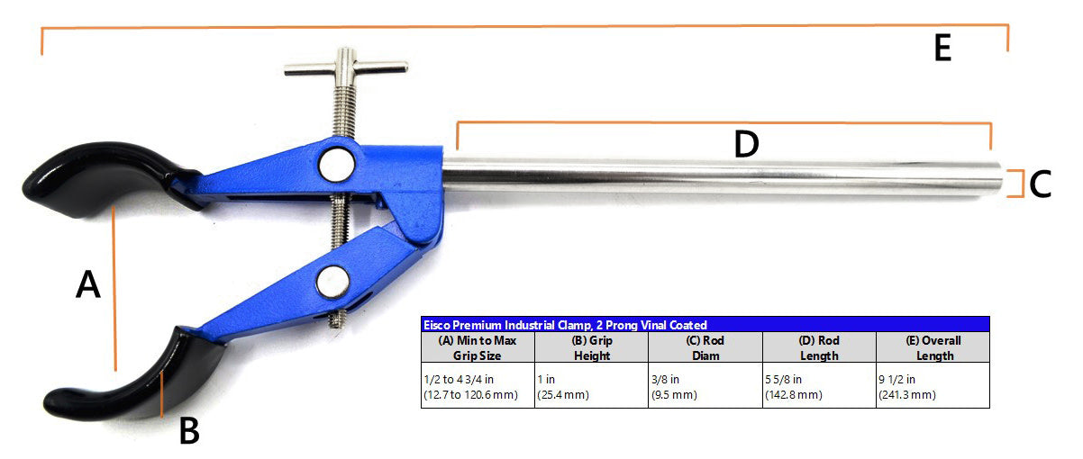 "2 Prong, Vinyl Coated, Lab Clamp on Rod,  4.75"" (12 cm) Maximum Clamp Opening"