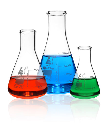 Borosilicate Glass Safety Pack Erlenmeyer Flask Set (50ml, 100ml & 250ml), Graduated, Autoclavable