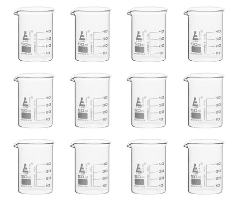 Borosilicate Glass Beaker, 50 ml, 10 ml Graduation, Low Form, Autoclavable