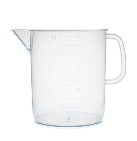 Polypropylene Measuring Jug with Handle and Spout, EURO Design 5000 ml, 50 ml Graduation, Autoclavable