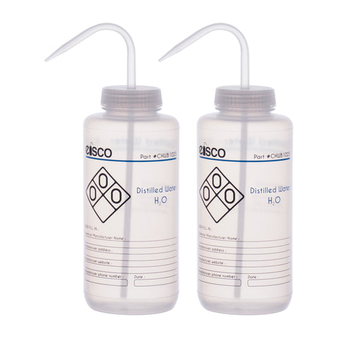 2PK Performance Plastic Wash Bottle, Distilled Water, 1000 ml - Labeled (2 Color)