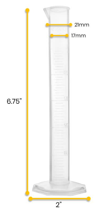 Polypropylene Graduated Cylinder, 25ml, 0.5ml Graduation, Hexagonal Base, Class B, Autoclavable