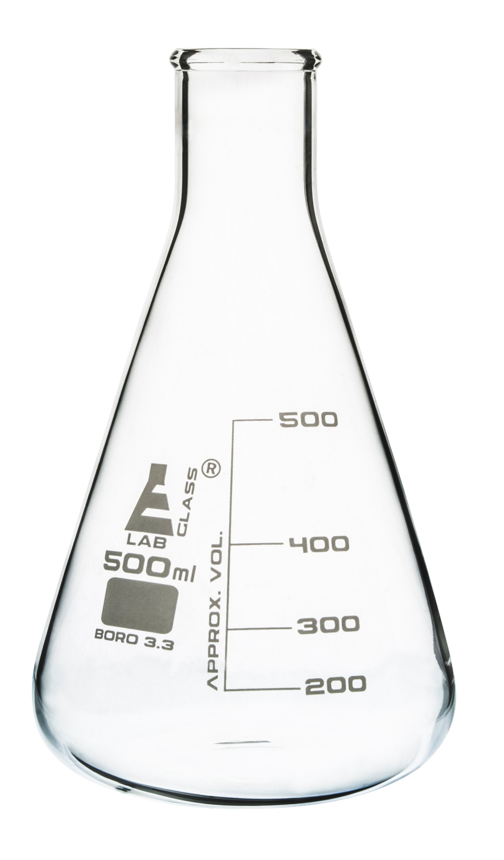 Borosilicate Glass Erlenmeyer Flask, 500 ml, 100 ml Graduations, Autoclavable