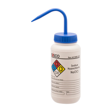 Performance Plastic Wash Bottle, Sodium Hypochlorite (Bleach), 500 ml - Labeled (4 Color)