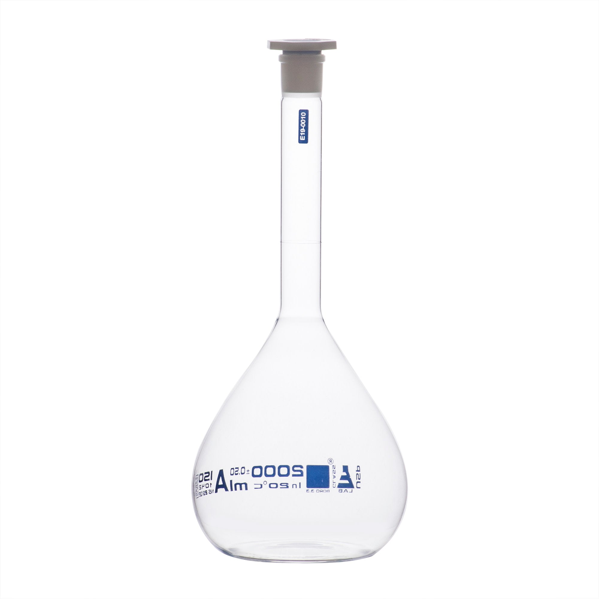 Borosilicate Glass Volumetric Flask with Solid Glass Stopper, 2000 ml, USP Class A with Individual Work Certificate,  Pack of 2, Autoclavable