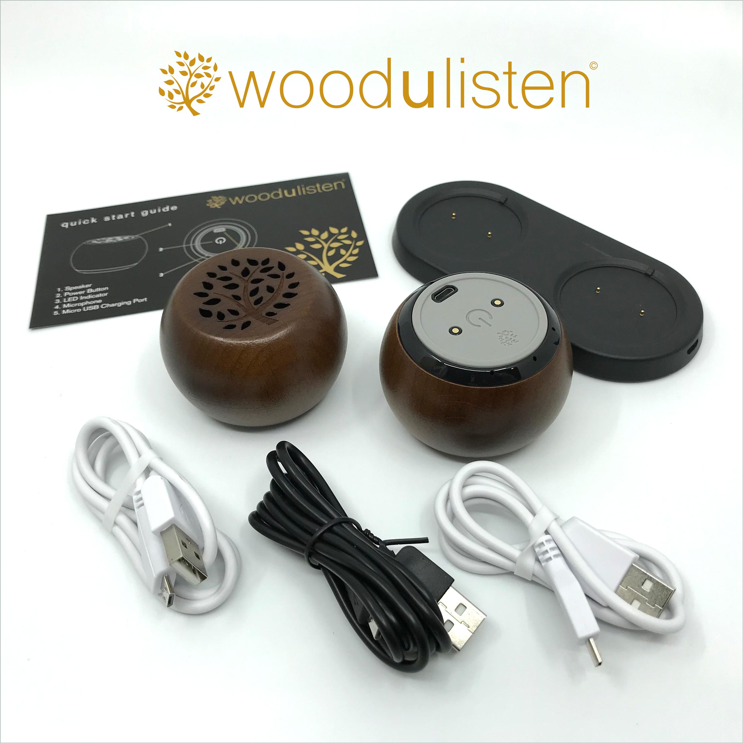 JAVATONE TREE AND BRANCH WOODULISTEN TWS STEREO SET WITH CHARGING DOCK: