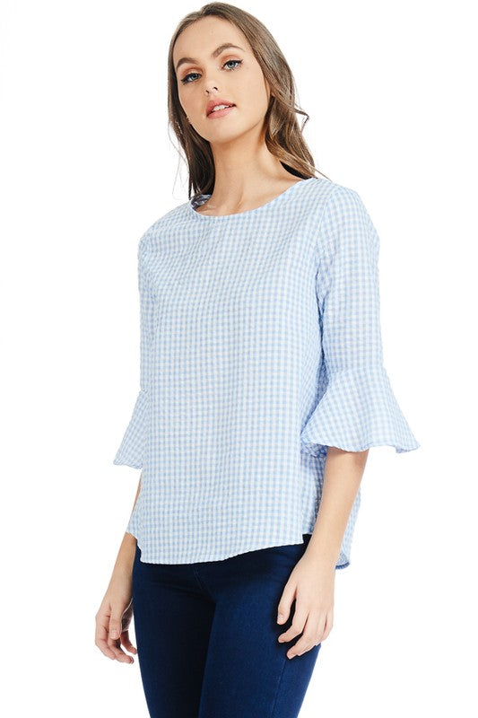 Dolly Gingham Ruffle Top