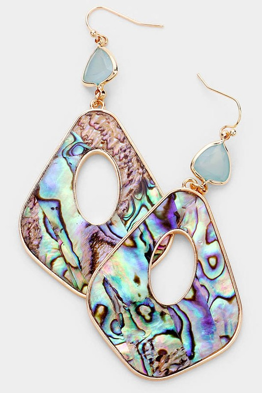 Jennifer Abalone Geometric Earrings