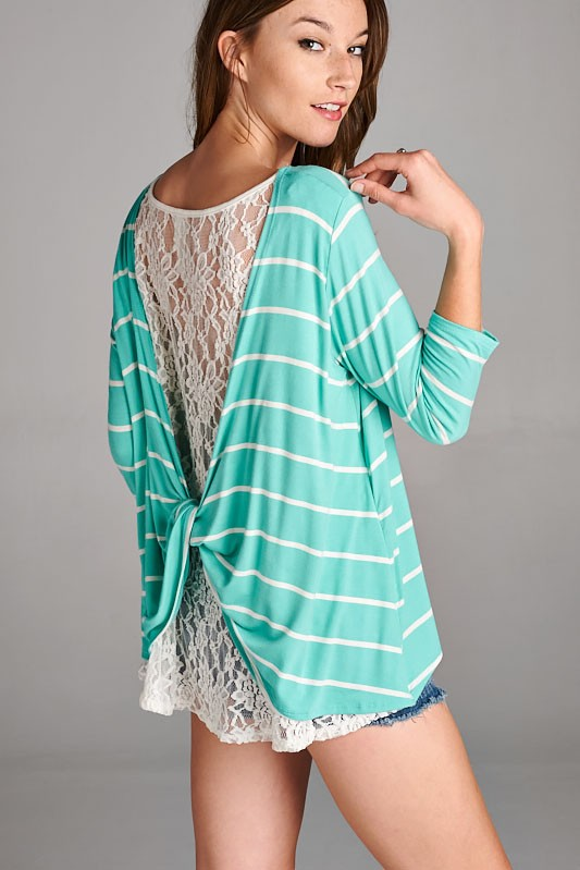 Tate Lace Back Striped Top in Denim Blue (color in stock different than pic)